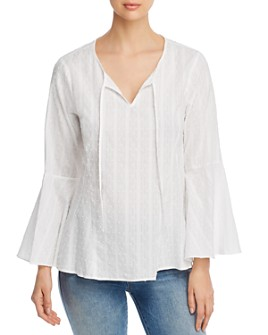 Cupio - Cotton Embroidered Flare-Sleeve Top