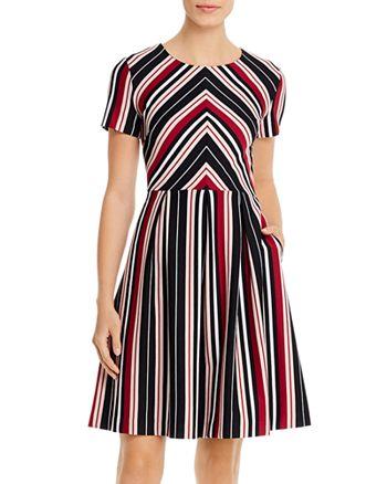 KARL LAGERFELD PARIS - Short-Sleeve Striped Dress
