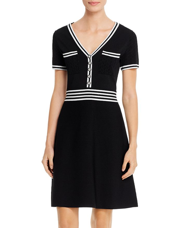 KARL LAGERFELD PARIS - V-Neck Knit Dress