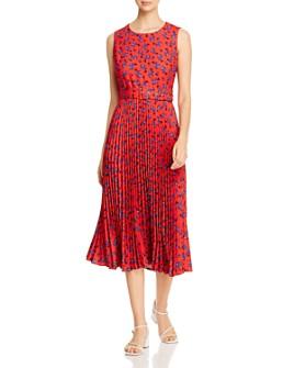 T Tahari - Pleated Floral Print Dress