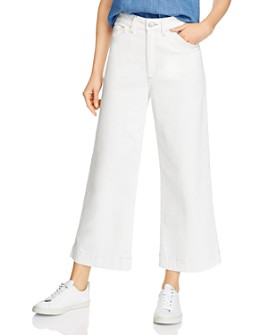 AG - Rosie Cropped Wide-Leg Utility Jeans in Moderne White