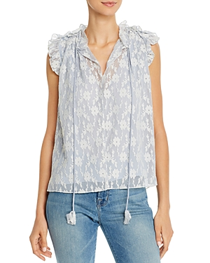 Rebecca Taylor Tie-Front Embroidered Lace Top-Women