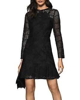 REISS - Baptiste Illusion Lace Fit & Flare Dress
