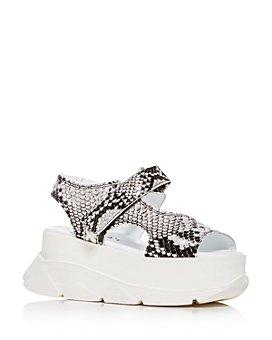 Joshua Sanders - Women's Spice Snake-Embossed Platform Wedge Sandals
