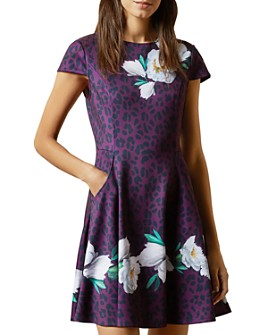 Ted Baker - Animal And Floral Print Skater Dress