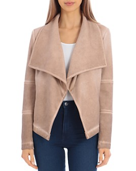 Bagatelle - Washed Scuba Faux-Suede Drape Jacket