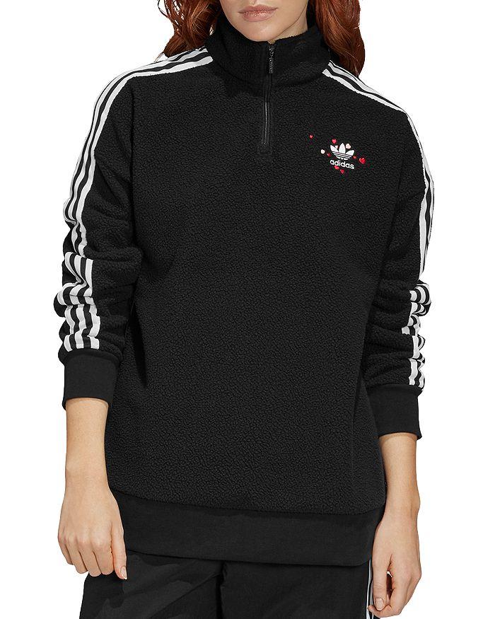 adidas Originals - Hearts Quarter-Zip Fleece Sweatshirt