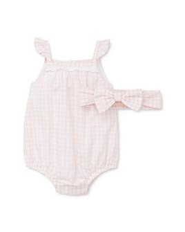 Little Me - Girls' Gingham Cotton Bubble Romper & Headband Set - Baby