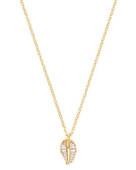 Bloomingdale's - Diamond Baguette Leaf Pendant Necklace in 14K Yellow Gold - 100% Exclusive
