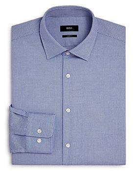 BOSS - Marley Cotton Mini-Grid Regular Fit Dress Shirt