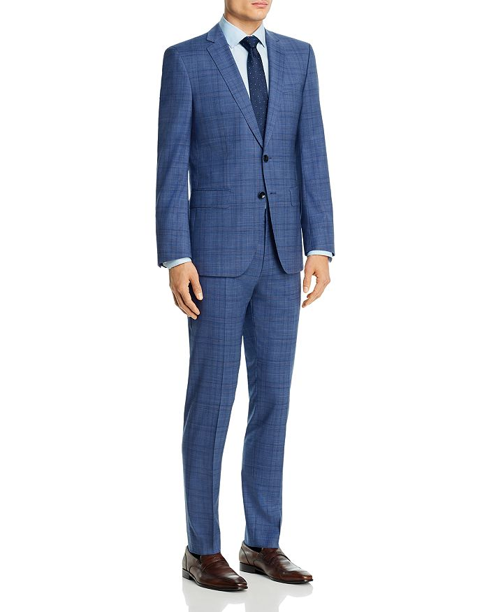 BOSS - Huge/Genius Wool Blue Plaid Slim Fit Suit