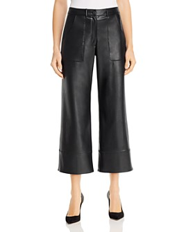 Elie Tahari - Tara Faux Leather Wide-Leg Pants
