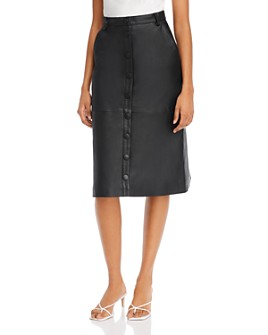 REMAIN - Bellis Front-Button Leather Skirt
