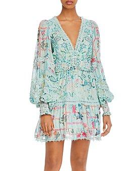 Hemant and Nandita - Floral-Print Lace-Trim Dress