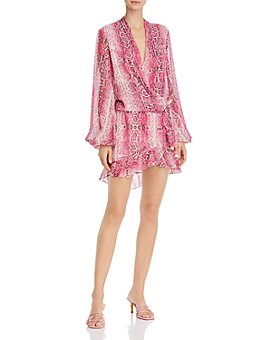 Rococo Sand - Metallic-Print Wrap Mini Dress