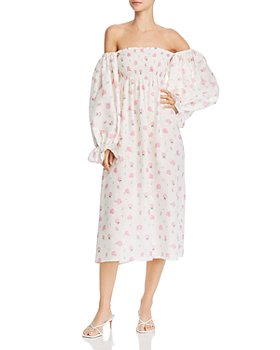 Sleeper - Floral-Print Off-The-Shoulder Dress