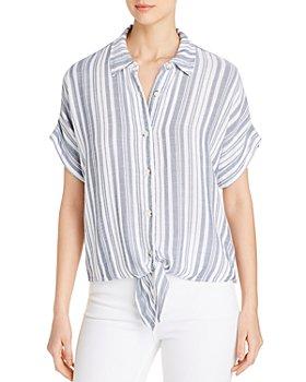 XCVI - Teagen Striped Tie-Front Top
