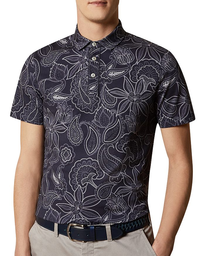 Ted Baker - Cotton Paisley-Print Polo