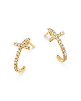 Bloomingdale's - Diamond Cross Hoop Earrings in 14K Yellow Gold - 100% Exclusive
