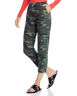 Sundry - Cotton Camo-Print Beaded Cropped Trousers
