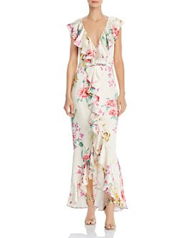 Keepsake - Arrows Ruffled Floral Print Gown