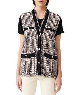 Maje - Vivi Tweed Sleeveless Jacket