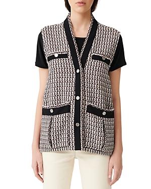 Maje Vivi Tweed Sleeveless Jacket-Women