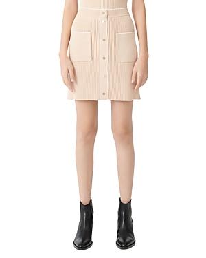 Maje Jarina Rib Knit Mini Skirt