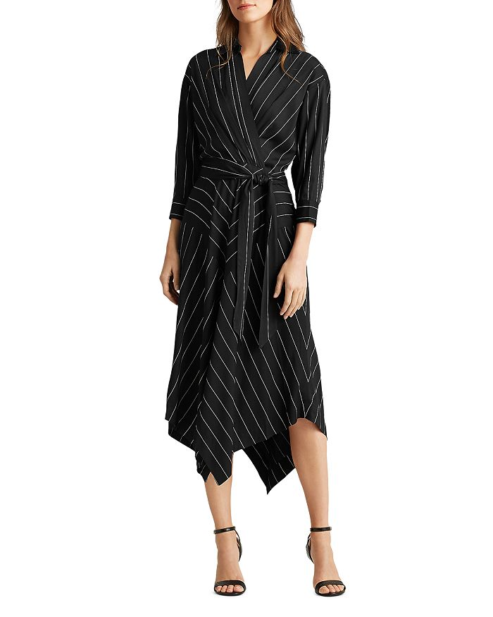 Ralph Lauren - Pinstriped Faux-Wrap Dress