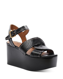 Chloé - Women's Candice Snake-Embossed Platform Sandals