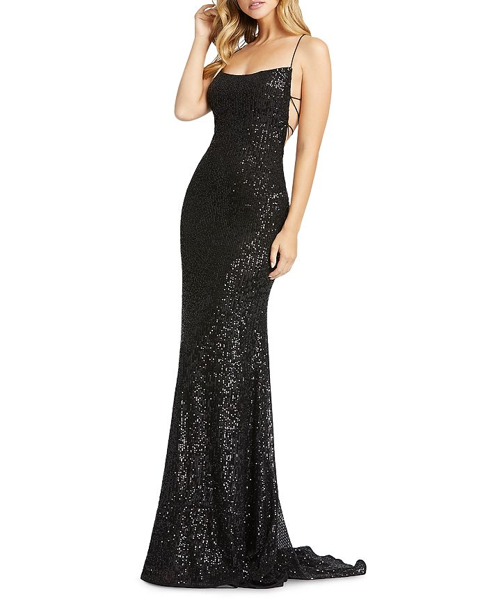 Mac Duggal - Lace-Up Sequin Gown