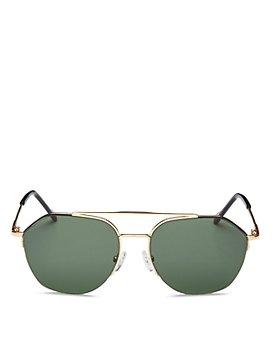 Le Specs Luxe - Unisex Ilky Brow Bar Aviator Sunglasses, 57mm