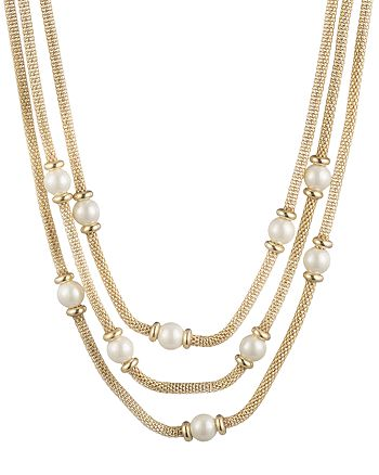 "Ralph Lauren - Imitation Pearl Mesh Layered Necklace, 16"""