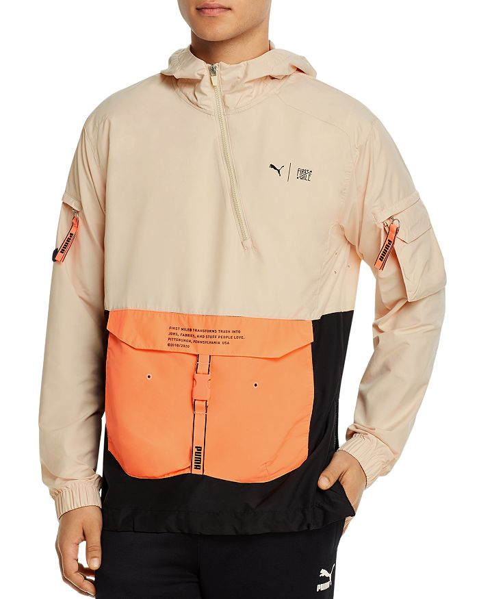 PUMA - First Mile Color-Blocked Regular Fit Hooded Utility Jacket