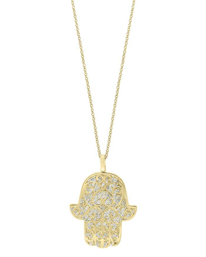 Bloomingdale's Diamond Hamsa Hand Pendant Necklace in 14K Yellow Gold - 100% Exclusive  | Bloomingdale's