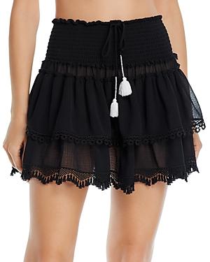 Ramy Brook Enzo Smocked Tiered Mini Skirt-Women