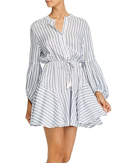 AQUA - Striped Balloon-Sleeve Mini Dress