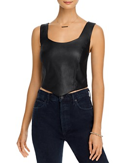 AQUA - Faux-Leather Sleeveless Top