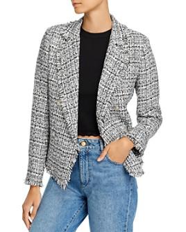 AQUA - Fringed Tweed Blazer