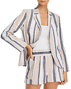 AQUA - Striped Open-Front Blazer
