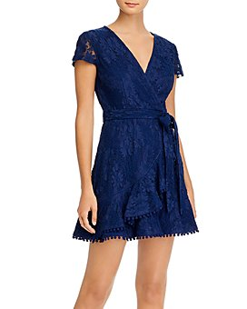 AQUA - Lace Ruffled Faux-Wrap Dress