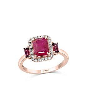 Bloomingdale's - Ruby, Rhodolite & Diamond Halo Ring in 14k Rose Gold - 100% Exclusive