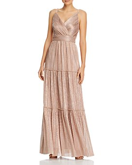 AQUA - Metallic V-Neck Gown - 100% Exclusive