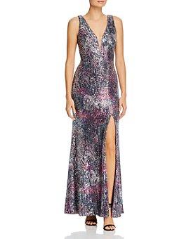 AQUA - Sequin Illusion Gown - 100% Exclusive