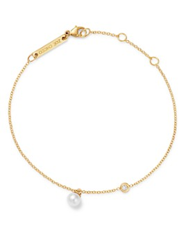 Zoë Chicco - 14k Gold Cultured Freshwater Pearl & Diamond Link Bracelet