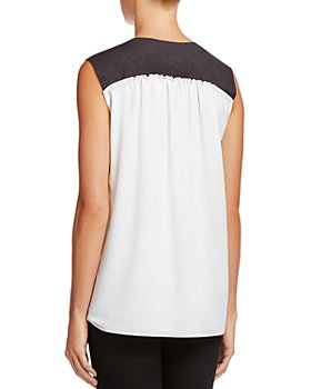 Bailey 44 - Sleeveless Faux-Leather-Trim Top