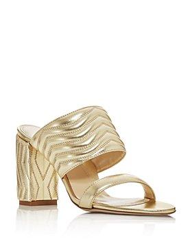 MARION PARKE - Women's Lizzie Quilted High Block-Heel Slide Sandals