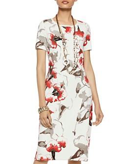 Misook - Floral-Pattern Knit Dress