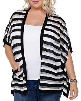 Belldini Plus - Striped Short-Sleeve Cardigan