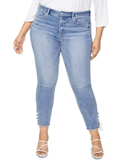 NYDJ Plus - Sheri Lace-Hem Slim Ankle Jeans in Coheed